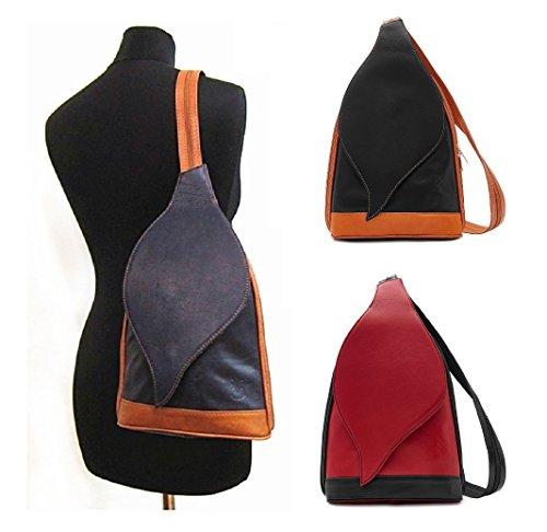 Bag Shoulder Womens Convertible Amethyst Rucksack Backpack Black Retail Vera Pelle Leather Handbag Ladies wpfF8qB