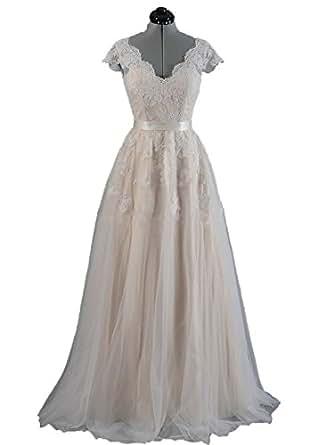 Angel Formal Dresses Women's V Neck V Back Cap Sleeves