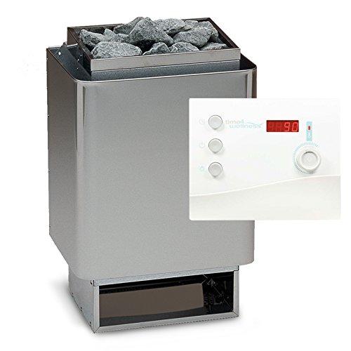 Saunaset EOS 34A Sauna Ofen 7,5 kW - Deutsche Qualität inkl. Sentiotec Steuerung K2, Saunasteine und Silikonkabel 5 Adrig