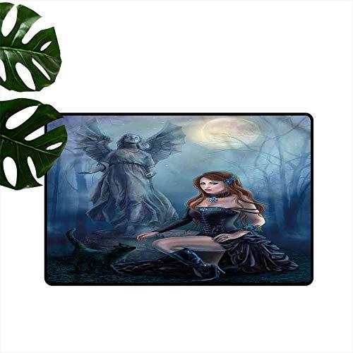 DONEECKL Modern Door mat Vampire Fantasy Woman Black