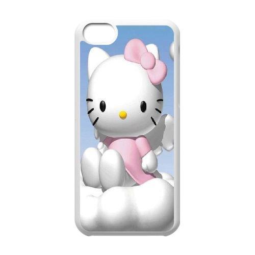 S9W12 Bonjour Kitty E7N6IM cas d'coque iPhone de téléphone cellulaire 5c couvercle coque blanche XB2ITY9YO