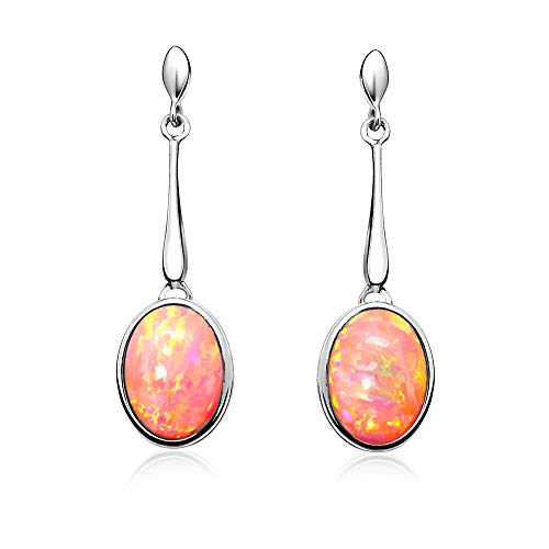(Paul Wright Created Pink Opal Dangle Earrings in 925 Sterling Silver, 10x8mm Oval, Vibrant Coral Pink Color, on Posts)