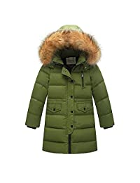 LAVIQK Big Girls Boys Winter Parka Down Coat Puffer Jacket Padded Overcoat with Fur Hood