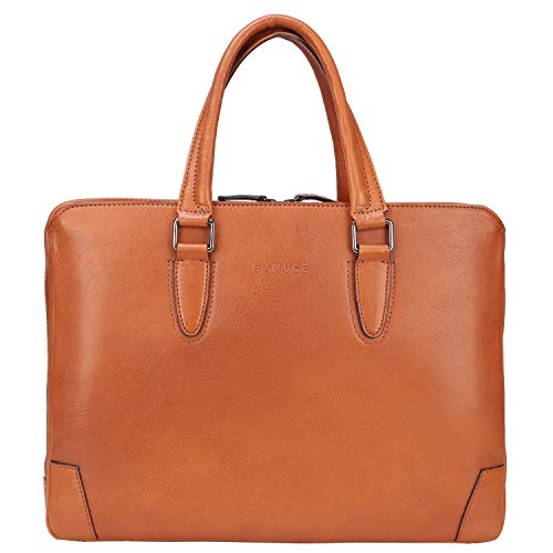 Banuce Vintage Full Grains Italian Leather Briefcase for Men Women Business 14 Inch U-zip Laptop Tote Handle Bag Work Attache Case