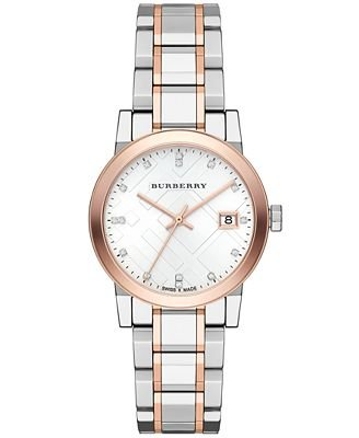 Burberry Silver Dial Two-tone Ladies Watch BU9127