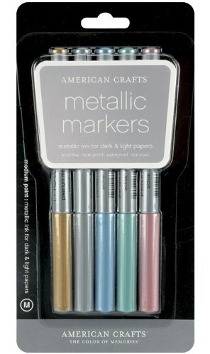 American Crafts 62264 Metallic Marker 5-Pack, Medium Point, Multi Color (American Marker Metallic Crafts)