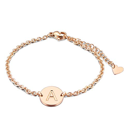 THREE KEYS JEWELRY Rose Gold Tone Initial A Bracelet 316L Stainless Steel Disc Pendant Heart with Letter Alphabet for Womens and Girls(6.5