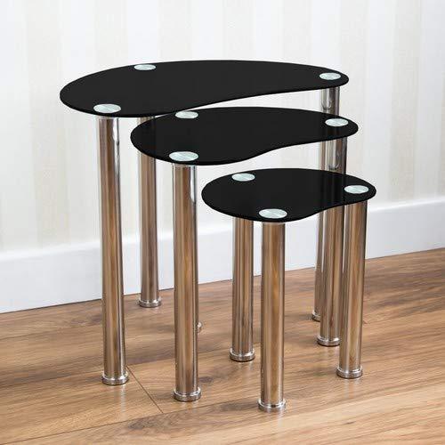 Casa de Descuento® Juego de 3 mesas auxiliares, Cristal Negro ...