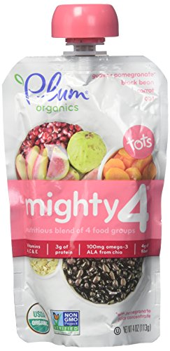 Plum Organics Tots Mighty 4 Toddler Food, Guava, Pomegranate, Black Bean, Carrot and Oat, 4 Ounce