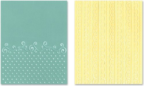 Sizzix 656980 Textured Impressions Embossing Folders, Flourish, Dots & Ribbon Set by Rachael Bright, 2-Pack, Multicolor (Embossing Ribbon)
