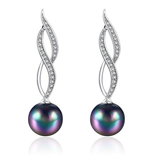 Rakumi Black Pearl Dangle Earrings 10mm Round Black Seashell Pearl Dangle Earrings -