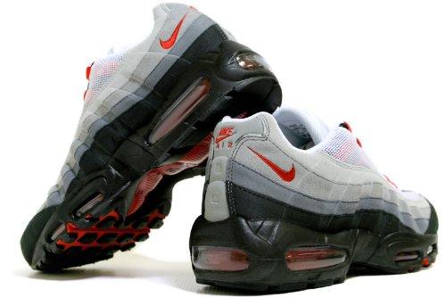 bdd63c5e0bf930 Nike Air Max 95 No Sew Herren Laufschuhe Weiß   Sport Rot-natürlich Grau-  ...