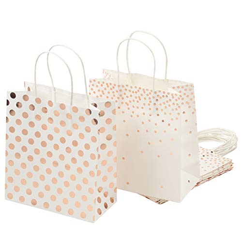 Gift Bags Foil - Foil Gift Bags – 16-Pack Treat Bags with Handles, Paper Goodie Bags for Retail, Gifts, Party Favors, 2 Rose Gold Foil Designs, Medium, 9 x 8 x 4 Inches