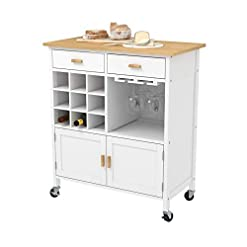 Kitchen mecor Kitchen Utility Island Cart w/Wood Top, Rolling Trolley on Wheels with Storage Drawer, Wine Racks and Cabinet… modern kitchen islands and carts