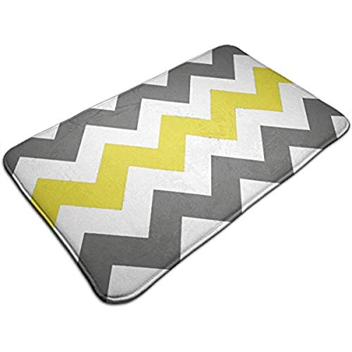 Eagles Geometric Rug - Yushangmao Yellow Grey Geometric Chevron Entrance Mat Floor Mat Rug Doormat Indoor/Bathroom Rubber Non Slip 23.6