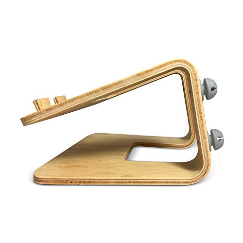 Think Home Ergonomic Bamboo Laptop Stand with Cable & Wire Organizer and Management System (Rubber Cable Holder, & Clips) by Think Home (Image #2)