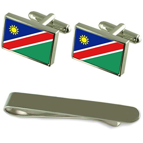Namibia Flag Silver Cufflinks Tie Clip Engraved Gift Set by Select Gifts