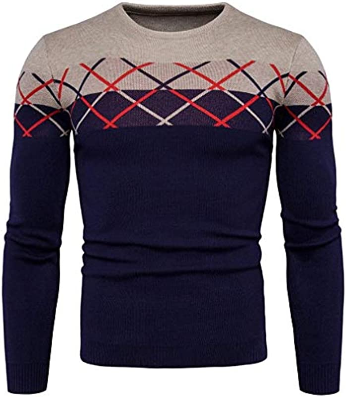 Męski sweter z długim rękawem casual okrągły dekolt Knit wiosna sweter dekolt moda męska jesień elegancki sweter z długim rękawem sweter z dzianiny sweter: Odzież