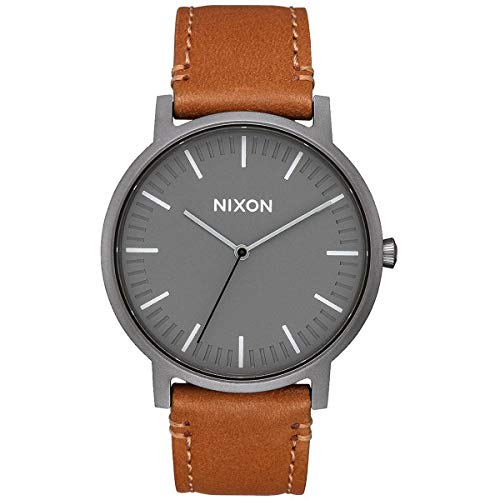 NIXON Porter Leather A1058 - Gunmetal/Charcoal/Taupe - 50m Water Resistant Men