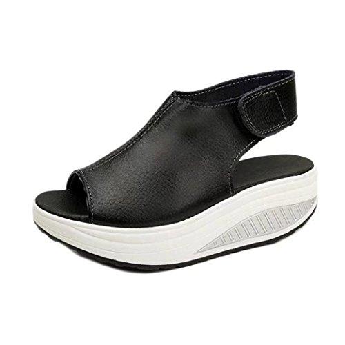 Elecenty Sandalen Übergröße Damen Keilabsatz Schuhe,Schuh Platform Plateau Sommerschuhe Hoch Absatz Shoes Sandaletten Frauen Elegante Peep-Toe regulierbaren Schnallen Freizeitschuhe Schwarz