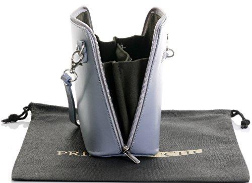 Un Rangement Protecteur Sac À Sacchi® Ou nbsp;comprend Cuir La Petit Bandoulière Peinte Light Marque Italien Main Gris En De Primo 6qpw1fZ44x