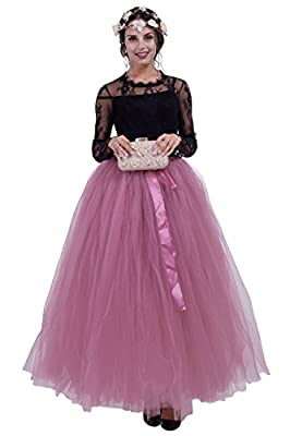 MisShow Women's Maxi Length Ball Gown Tulle Skirts Adjustable Band Tutu Costume
