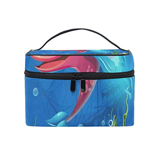 Toiletry Bag Multifunction Cosmetic Bag Tropical Ocean Sea World Fish Aquatic Coral Portable Makeup Pouch Waterproof Travel Organizer Bags For Women Girls Beauty