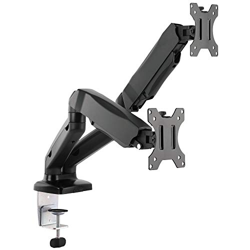 (WALI Dual LCD Monitor Fully Adjustable Gas Spring Desk Mount Fit 2 Screens VESA up to 27 inch, 14.3 lbs. Weight Capacity per Arm (GSM002), Black)