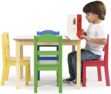 Humble Crew Collection Kids Wood Table & 4 Chair Set, Natural/Primary