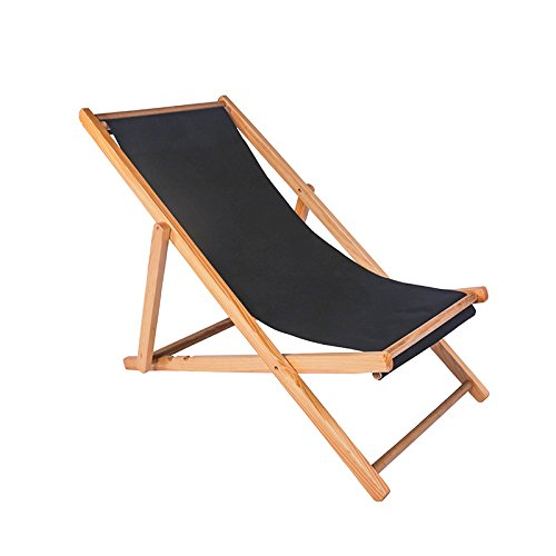 ZLJTYN Folding Sun Lounger Beach Chair, Folding Chair, Solid Wood Recliner, Canvas Chair, Lunch Break Chair, Chair, Outdoor Portable Chair, Accompanying Chair Lazy Chair, D, 1 PACK