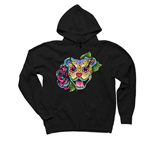 Smiling Pit Bull in Fawn - Day of the Men's 2X-Large Black Graphic Zip Hoodie