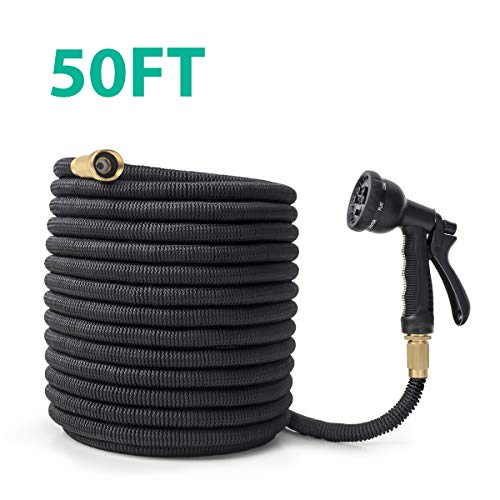 CACAGOO Garden Hose, 50 FT Lightweight Water Hose, 8 Functions Sprayer with Double Latex Core, 3/4″ Solid Brass Fittings, Extra Strength Fabric, No-Kink Flexible Expandable Hose for watering, washing