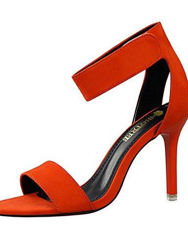 ZQ Zapatos de mujer-Tac¨®n Stiletto-Tacones / Punta Abierta-Sandalias-Fiesta y Noche-Terciopelo-Negro / Rojo / Gris / Naranja / Caqui , gray-us8 / eu39 / uk6 / cn39 , gray-us8 / eu39 / uk6 / cn39 khaki-us8 / eu39 / uk6 / cn39