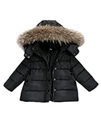 Dumanfs Baby Warm Winter Down Jacket, Infant Girls Boys Removable Hat Snow Coat