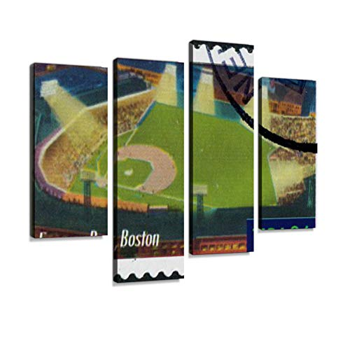 Fenway Park, Boston Stamp Canvas Wall Art Hanging Paintings Modern Artwork Abstract Picture Prints Home Decoration Gift Unique Designed Framed 4 Panel ()