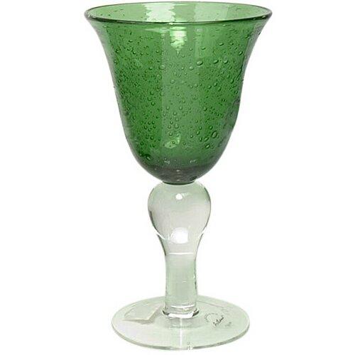 - Artland Iris Seeded Green Glass 14 Ounce Goblet, Set of 6