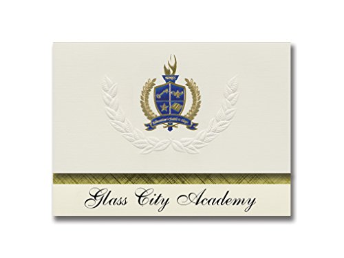 Signature Announcements Glass City Academy (Toledo, OH) Graduation Announcements, Presidential style, Elite package of 25 with Gold & Blue Metallic Foil seal ()