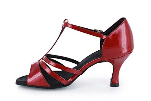 Tda Dames Comfortabele Open Neus Salsa Tango Ballroom Latin T-strap Moderne Dansschoenen Rood