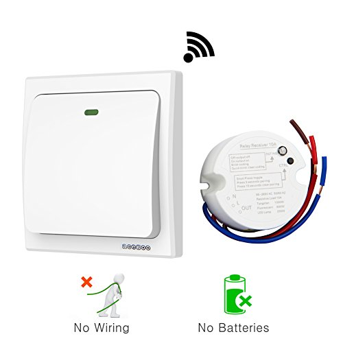 Acegoo Wireless Lights Switch Kit, No Battery No Wiring