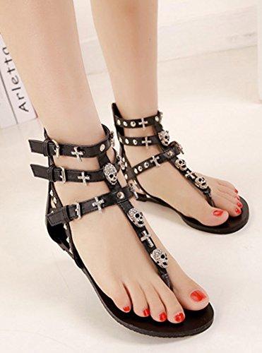 Salomé Aisun Femme Sandales Clip Mode Noir Plates Toe qw6OFEwA