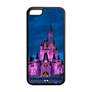 MMZ DIY PHONE CASETPU Case Cover for ipod touch 5 Strong Protect Case Cute Night Scene Cartoon Disney Castle Printed Case Perfect as Christmas gift(1)