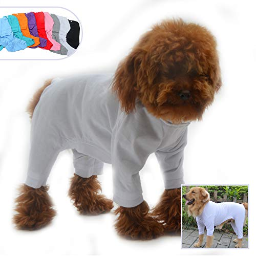 (Lovelonglong Four Feet Dog Lightweight Pajamas, Pure Cotton Dog Jumpsuits 4 Legs Dog Onesies T-Shirt Stylish PJS Puppy Costume for Large Medium Small Dogs White)