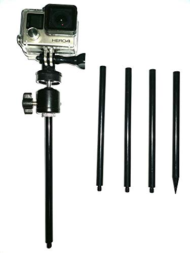 (MEINUOKE Trail Camera Stake Mount | Ground Spike Stick Mount | Adjustable Tilt 1/4-20 Ball Head | Fits Scouting Hunt Cameras and Gopro Action Cam)