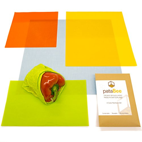PataBee Pure Organic Beeswax Wrap - Best Way to Zero Waste is a Reusable Alternative to Plastic Film, Healthy Natural Food Storage Wraps, Sustainable and Biodegradable Set of 4 Pcs Made in (Reusable Wrap)
