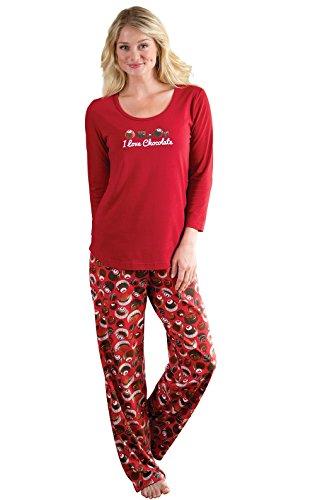 PajamaGram Red Pajamas Women Cotton - Pajama Sets Long Sleeve, Red, S, 4-6 (Cupcake Sleeve Long Birthday)