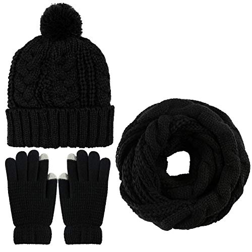 e282c516b04 Aneco Winter Warm Knitted Scarf Beanie Hat and Gloves Set Men   Women s  Soft Stretch Hat