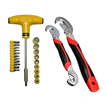 ADITYA INFO T-Bar Screw Driver and Socket Toolkit with Snap and Grip Wrench Set - 24 pieces