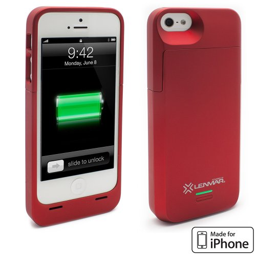 iPhone 5S Battery Case, Lenmar Meridian 2300 mAh MFI Approved [Slim] [Extended Battery Charger] [100% Additional Battery Life], Red by Lenmar (Image #1)