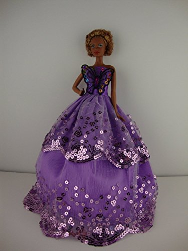 (Pretty Purple Strapless Sequined Ball Gown with a Butterfly on the Botice Made to Fit the Barbie)