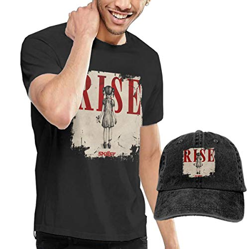 Dingtai Skillet Rise Men's Short Sleeve T Shirt and Adult Washed Cowboy Hat XXL Black (Skillet Rise Hat)